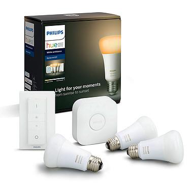 Philips Hue White Ambiance Kit de démarrage E27 Bluetooth 3 ampoules E27 - Pont Hue - Interrupteur avec variateur