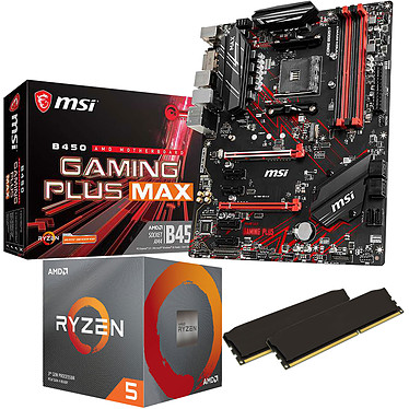 Kit Upgrade PC AMD Ryzen 5 3600 MSI B450 GAMING PLUS MAX 16 Go Carte mère Socket AM4 AMD B450 + CPU AMD Ryzen 5 3600 (3.6 GHz / 4.2 GHz) + RAM 16 Go DDR4