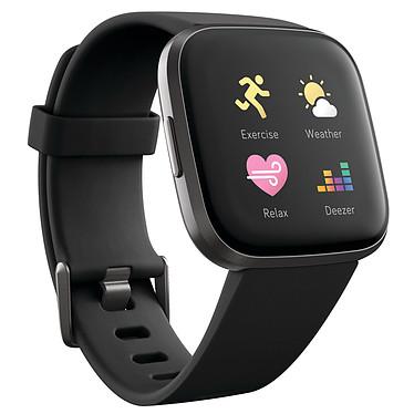 Fitbit Versa 2 Noir / Carbone Montre connectée GPS avec capteur cardiaque, écran couleur tactile, contrôle vocal, Bluetooth compatible iOS, Android