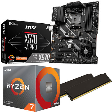 Kit Upgrade PC AMD Ryzen 7 3700X MSI X570-A PRO 16 Go Carte mère Socket AM4 AMD X570 + CPU AMD Ryzen 7 3700X (3.6 GHz / 4.4 GHz) + RAM 16 Go DDR4