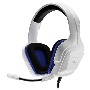 The G-Lab KORP Cobalt (Blanc) Casque-micro pour gamer - Supra-auriculaire - Microphone ajustable - Jack 3.5 mm - Compatible PC / Consoles / Mobiles