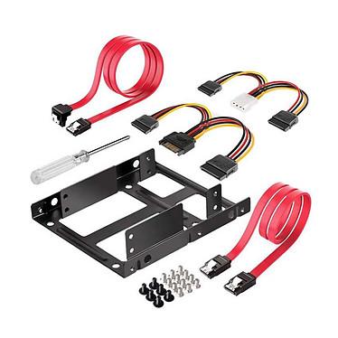 """Heden Kit de montaje para 2 SSD/HDD 2.5"""" Kit adaptador para 2 discos duros SSD/HDDDD de 2 x 2,5 pulgadas en una bahía de 3,5 pulgadas."""
