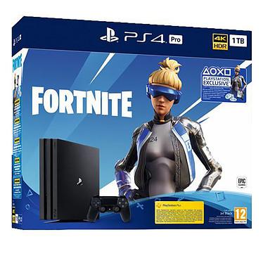 Sony PlayStation 4 Pro (1 To) Noir + Fortnite Console Ultra HD 4K avec disque dur 1 To et manette sans fil + code de téléchargement pour le jeu Fortnite