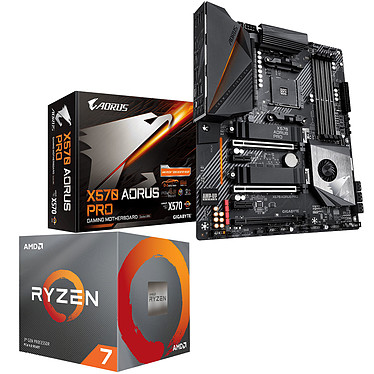 Kit Upgrade PC AMD Ryzen 7 3800X Gigabyte X570 AORUS PRO Carte mère Socket AM4 AMD X570 + CPU AMD Ryzen 7 3800X (3.9 GHz / 4.5 GHz)