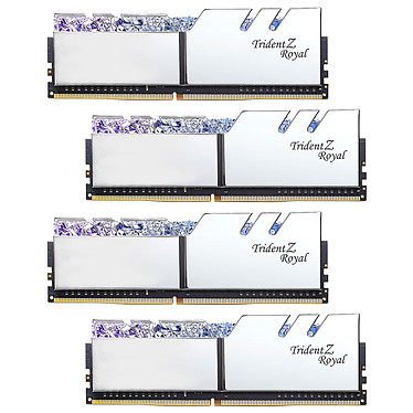 G.Skill Trident Z Royal 128 Go (4 x 32 Go) DDR4 2666 MHz CL18 - Argent Kit Quad Channel 4 barrettes de RAM DDR4 PC4-21300 - F4-2666C18Q-128GTRS avec LED RGB