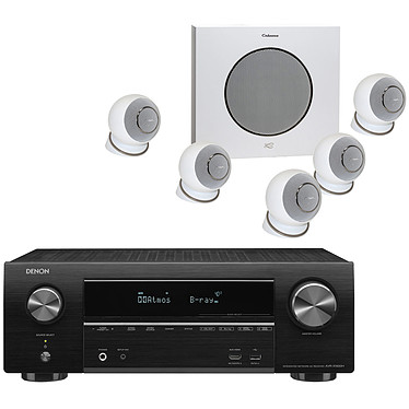 Denon AVR-X1600H + Cabasse Eole 4 Blanc Ampli-tuner Home Cinema 3D Ready 7.2 - Dolby Atmos / DTS:X - 8x HDMI 4K UHD, HDCP 2.3, HDR - Wi-Fi/Bluetooth/AirPlay 2 - Multiroom - Amazon Alexa / Google Assistant + Ensemble 5.1