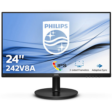 "Philips 23.8"" LED - 242V8A 1920 x 1080 pixels - 4 ms - Dalle IPS - 75 Hz - Format large 16/9 - Adaptive Sync - HDMI/DisplayPort/VGA - Noir"