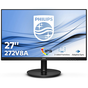 "Philips 27"" LED - 272V8A 1920 x 1080 pixels - 4 ms - Dalle IPS - 75 Hz - Format large 16/9 - Adaptive Sync - HDMI/DisplayPort/VGA - Noir"