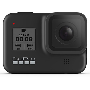 "GoPro HERO8 Black Caméra sportive étanche 4K60p - Photo 12 MP HDR - Stabilisation HyperSmooth 2.0 - Ralenti 8x - Ecran tactile 2"" - LiveStream 1080p - Contrôle vocal - Wi-Fi/Bluetooth - GPS - Fixation intégrée"