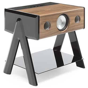 La Boîte Concept CUBE Woody Enceinte haute fidélité 3 voies - 100W RMS - Bluetooth 4.0 aptX - AUX - RCA/Toslink - Noyer / Noir laqué / Plateau verre trempé
