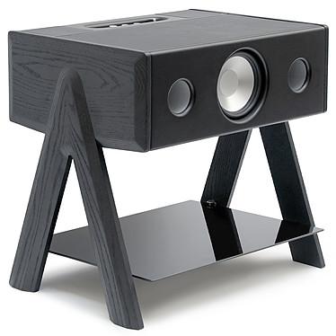 La Boîte Concept CUBE Noir LW Enceinte haute fidélité 3 voies - 100W RMS - Bluetooth 4.0 aptX - AUX - RCA/Toslink - Bois massif noir / Cuir / Plateau verre trempé