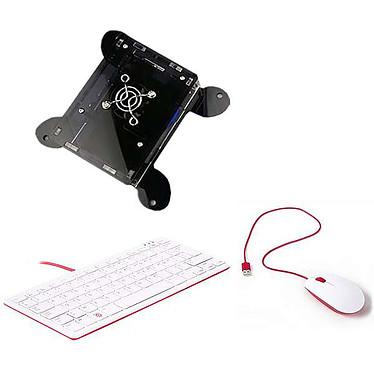Raspberry Pi 4 Office Kit 4 Go (noir) Mini ordinateur (carte Raspberry Pi 4 Model B 4 Go + boîtier VESA + carte mémoire + adaptateur secteur + clavier/souris)
