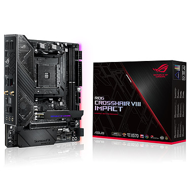 ASUS ROG CROSSHAIR VIII IMPACT Carte mère mini-DTX Socket AM4 AMD X570 - 2x DDR4 - SATA 6Gb/s + M.2 - USB 3.1 - PCI-Express 4.0 16x - Wi-Fi AX/Bluetooth 5.0