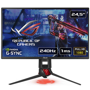 "ASUS 24.5"" LED - ROG Strix XG258Q 1920 x 1080 pixels - 1 ms (gris à gris) - Format large 16/9 - Dalle TN - 240 Hz - Pivot - Ultra Low Blue Light + Flicker Free - HDMI/DisplayPort - FreeSync - Compatible G-SYNC"