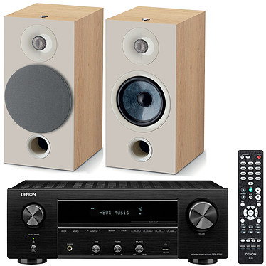 Denon DRA-800H Noir + Focal Chora 806 Light Wood Ampli-tuner hi-fi stéréo - 100W/canal - Hi-Res Audio - FM/DAB+ - 5x HDMI 4K UHD HDCP 2.3 - HDR - Multiroom - Wi-Fi/Bluetooth/AirPlay 2 - Amazon Alexa/Google Assistant + Enceinte bibliothèque (par paire)