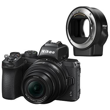 "Nikon Z 50 + 16-50 VR + FTZ Appareil photo hybride APS-C 20.9 MP - 51 200 ISO - Ecran 3.2"" tactile inclinable - Viseur OLED - Vidéo 4K Ultra HD - Wi-Fi/Bluetooth + Objectif DX grand-angle 16-50mm f/3.5-6.3 VR + Adaptateur pour monture FTZ"