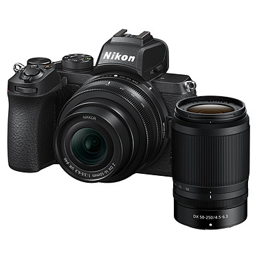 "Nikon Z 50 + 16-50 VR + 50-250 VR Appareil photo hybride APS-C 20.9 MP - 51 200 ISO - Ecran 3.2"" tactile inclinable - Viseur OLED - Vidéo 4K Ultra HD - Wi-Fi/Bluetooth + Objectif DX grand-angle 16-50mm f/3.5-6.3 VR + Téléobjectif DX 50-250mm f/4.5-6.3 VR"