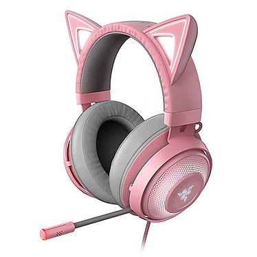 Razer Kraken Kitty (Quartz) Casque gaming - filaire - circum-aural fermé - microphone flexible - coussinets à gel refroidissant avec mousse à mémoire de forme - rétroéclairage Razer Chroma - télécommande