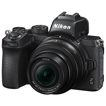 "Nikon Z 50 + 16-50 VR Appareil photo hybride APS-C 20.9 MP - 51 200 ISO - Ecran 3.2"" tactile inclinable - Viseur OLED - Vidéo 4K Ultra HD - Wi-Fi/Bluetooth + Objectif DX grand-angle 16-50mm f/3.5-6.3 VR"