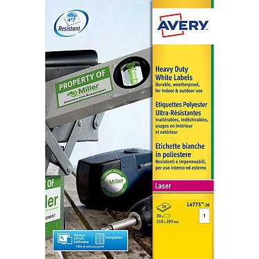 Avery Etiquettes ultra-résistante 297 x 210 mm 20 étiquettes 297 x 210 mm Polyester, Laser, Adhésif permanent, Blanc