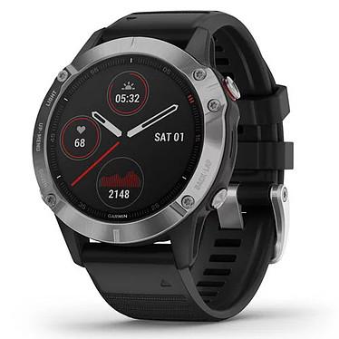 """Garmin fenix 6 (Argent/Noir) Montre connectée - acier inoxydable - écran tactile 1.3"""" 260 x 260 pixels - bracelet en silicone - GPS/GLONASS/Galileo - WiFi/Bluetooth - résistance à l'eau"""