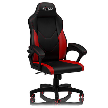 Nitro Concepts C100 (Noir/Rouge) Siège en similicuir avec dossier réglable à 14° et accoudoirs pour gamer (jusqu'à 120 kg)