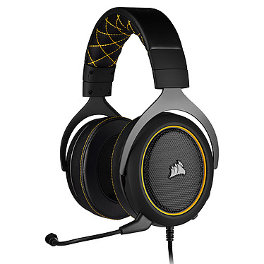 Corsair Gaming HS60 Pro (Jaune) Casque gaming filaire - Son Surround 7.1 (PC) - Micro antibruit certifié Discord - Compatible PC / PS4 / Xbox One / Switch / Mobiles