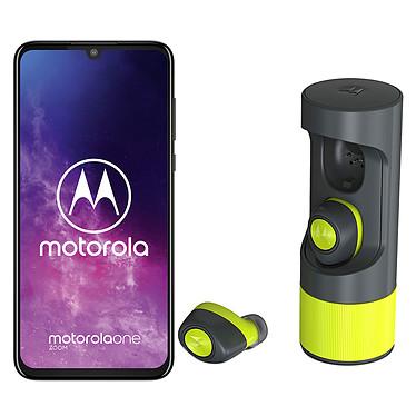 "Motorola One Zoom Gris + Verve Buds Ones OFFERT ! Smartphone 4G-LTE - Snapdragon 675 Octo-Core 2.0 Ghz - RAM 4 Go - Ecran tactile 6.4"" 1080 x 2340 - 128 Go - NFC/Bluetooth 5.0 - 4000 mAh - Android 9.0 + Écouteurs sans fil OFFERTS !"