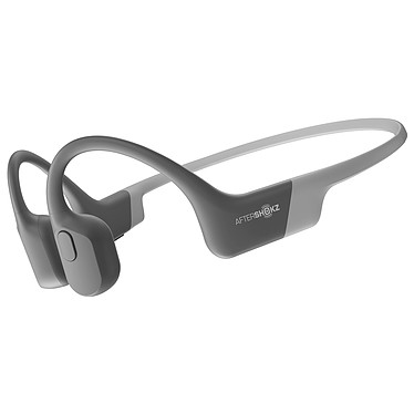 AfterShokz Aeropex Gris Casque tour de cou sans fil à conduction osseuse - Conception ouverte - Bluetooth 5.0 - Commandes/Microphone - Autonomie 8h - Certification IP67