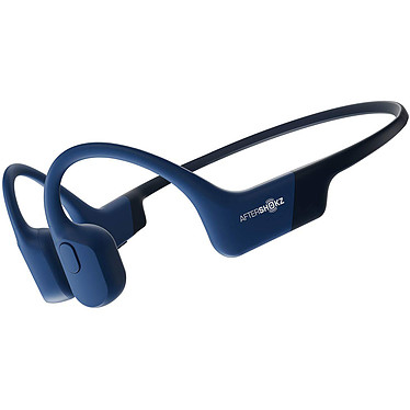 AfterShokz Aeropex Bleu Casque tour de cou sans fil à conduction osseuse - Conception ouverte - Bluetooth 5.0 - Commandes/Microphone - Autonomie 8h - Certification IP67