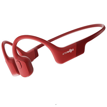 AfterShokz Aeropex Rouge Casque tour de cou sans fil à conduction osseuse - Conception ouverte - Bluetooth 5.0 - Commandes/Microphone - Autonomie 8h - Certification IP67