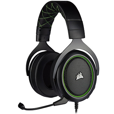 Corsair HS50 Pro (Vert) Casque gaming filaire circum-aural - Micro antibruit amovible certifié Discord - Compatible PC / PS4 / Xbox One / Switch / Mobiles