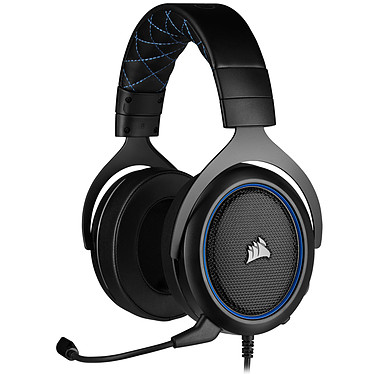 Corsair HS50 Pro (Bleu) Casque gaming filaire circum-aural - Micro antibruit amovible certifié Discord - Compatible PC / PS4 / Xbox One / Switch / Mobiles