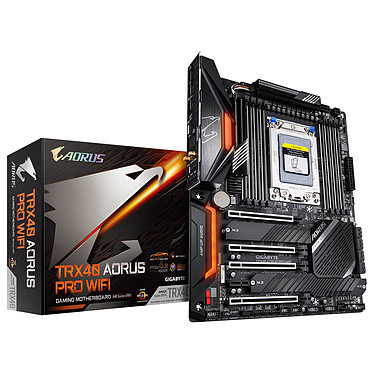 Gigabyte TRX40 AORUS PRO WIFI Carte mère ATX Socket sTRx4 AMD TRX40 - 8x DDR4 - SATA 6Gb/s + M.2 - USB 3.1 - Wi-Fi 6 AX/Bluetooth 5.0 - 4x PCI-Express 4.0 16x