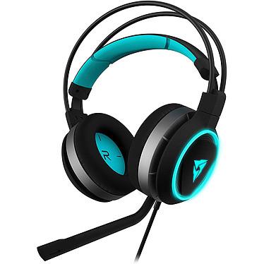 ThunderX3 AH7 Casque-micro pour gamer - circum-aural fermé - son stéréo 2.0 - microphone détachable - Jack 3.5 mm/USB - rétroéclairage cyan - compatible PC