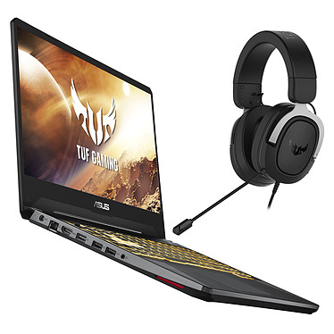 """ASUS TUF505DD-AL042T + ASUS TUF Gaming H3 (Argent) AMD Ryzen 5 3550H 8 Go SSD 128 Go + HDD 1 To 15.6"""" LED Full HD 120 Hz NVIDIA GeForce GTX 1050 3 Go Wi-Fi AC/Bluetooth Webcam Windows 10 Famille 64 bits + Micro-casque filaire 7.1"""