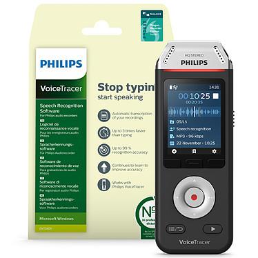 Philips DVT2810 + Logiciel de reconnaissance vocale Dictaphone numérique stéréo 8 Go avec slot MicroSD, batterie et logiciel de reconnaissance vocale