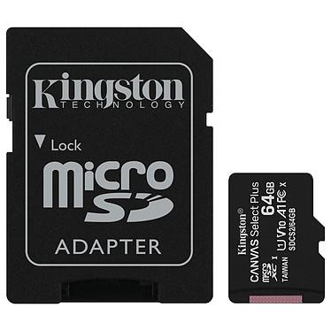 Kingston Canvas Select Plus SDCS2/64GB Carte mémoire Micro SDXC UHS-I U1 Classe 10 A1 Classe V10 64 Go + Adaptateur SD