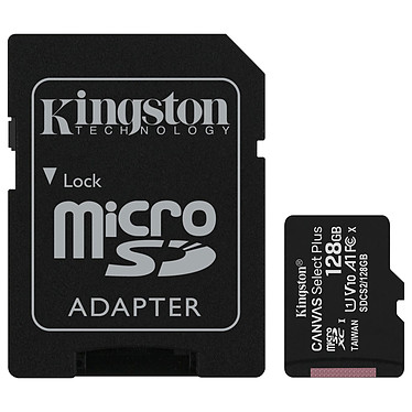 Kingston Canvas Select Plus SDCS2/128GB Carte mémoire Micro SDXC UHS-I U1 Classe 10 A1 Classe V10 128 Go + Adaptateur SD