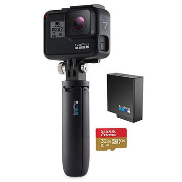 GoPro HERO7 Black Pack Caméra sportive étanche 4K avec photo 12 MP HDR, stabilisation HyperSmooth, écran tactile, contrôle vocal, Wi-Fi, Bluetooth, GPS et QuikStories + Mini-perche + Batterie supplémentaire + Carte Micro SD 32 Go