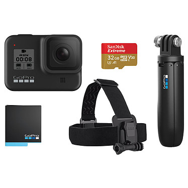 "GoPro HERO8 Black Pack Caméra sportive étanche 4K60p - Photo 12 MP HDR - Stabilisation HyperSmooth 2.0 - Ralenti 8x - Ecran tactile 2"" - LiveStream 1080p - Contrôle vocal - Wi-Fi/Bluetooth - GPS - Fixation intégrée + Batterie/Shorty/HeadStrap/MicroSD 32 Go"