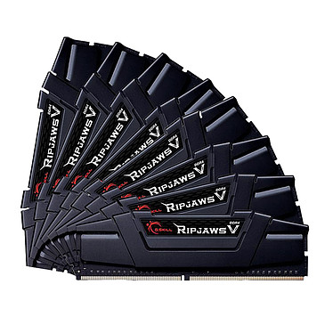 G.Skill RipJaws 5 Series Noir 256 Go (8 x 32 Go) DDR4 2666 MHz CL18 Kit Quad Channel 8 barrettes de RAM DDR4 PC4-21300 - F4-2666C18Q2-256GVK