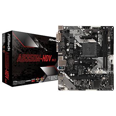 ASRock AB350M-HDV R4.0 Carte mère Micro ATX Socket AM4 AMD B350 - 2x DDR4 - SATA 6Gb/s + M.2 + Ultra M.2 - USB 3.0 - 1x PCI-Express 3.0 16x