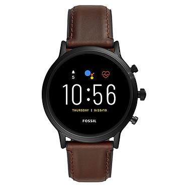 """Fossil The Carlyle HR (44 mm / Cuir / Marron) Montre connectée - Étanche 30 m - GPS - Cardiofréquencemètre - Écran AMOLED de 1.28"""" -  432 x 432 pixels - 8 Go - Bluetooth 4.2/WiFi/NFC - Wear OS - Bracelet en cuir 44 mm"""