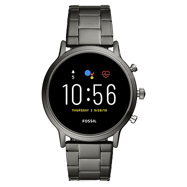 """Fossil The Carlyle HR (44 mm / Acier inoxydable / Gris) Montre connectée - Étanche 30 m - GPS - Cardiofréquencemètre - Écran AMOLED de 1.28"""" -  432 x 432 pixels - 8 Go - Bluetooth 4.2/WiFi/NFC - Wear OS - Bracelet acier inoxydable 44 mm"""