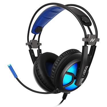 Abkoncore B581 Casque-micro pour gamer - circum-aural fermé - son surround 7.1 - microphone multidirectionnel - USB - rétroéclairage bleu - compatible PC