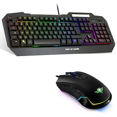 Spirit of Gamer ELITE-MK60 Ensemble pour gamer avec rétroéclairage RGB - clavier filaire semi-mécanique (AZERTY Français), souris filaire optique 4000 dpi, 8 boutons