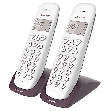 Logicom Vega 250 Aubergine Téléphone DECT sans fi - fonction mains libres - autonomie 7h en appel - 10 sonneries - mémoire 20 numéros - 1 combiné supplémentaire