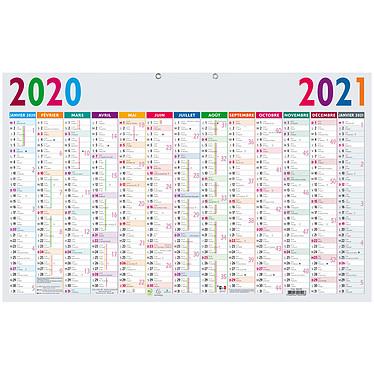 Exacompta Calendrier annuel - 13 mois (40.5 x 65 cm) Calendrier 13 mois de Janvier 2020 à Janvier 2021 avec zones congés scolaires
