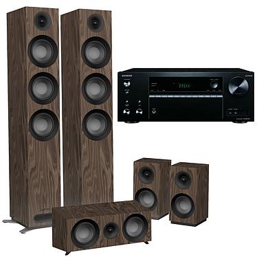 Onkyo TX-NR575E Noir + Jamo S 809 HCS Noyer Ampli-tuner Home Cinéma 7.2, Multiroom, Wi-Fi Dual Band, Bluetooth, AirPlay, Chromecast, DTS Play-Fi, HDMI 4K, Hi-Res Audio, DTS:X et Dolby Atmos + Pack d'enceintes 5.0 compatible Dolby Atmos